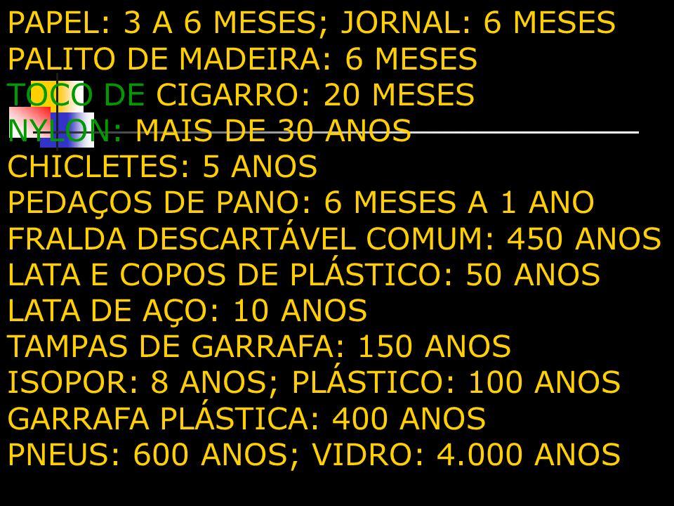 PAPEL: 3 A 6 MESES; JORNAL: 6 MESES PALITO DE MADEIRA: 6 MESES TOCO DE CIGARRO: 20 MESES NYLON: MAIS DE 30 ANOS CHICLETES: 5 ANOS PEDAÇOS DE PANO: 6 M