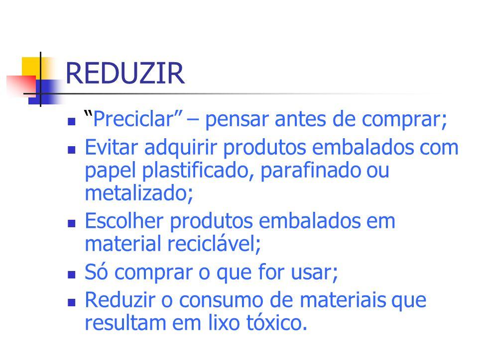 REDUZIR Preciclar – pensar antes de comprar; Evitar adquirir produtos embalados com papel plastificado, parafinado ou metalizado; Escolher produtos em