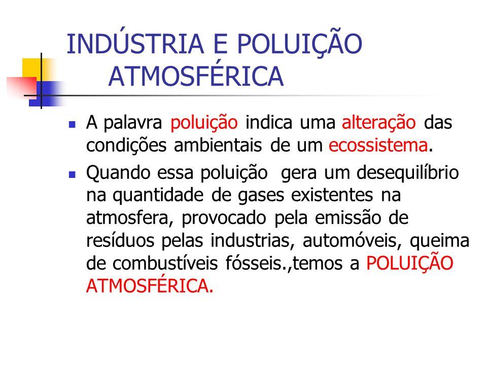 INDÚSTRIA E POLUIÇÃO ATMOSFÉRICA A palavra poluição indica uma alteração das condições ambientais de um ecossistema. Quando essa poluição gera um dese