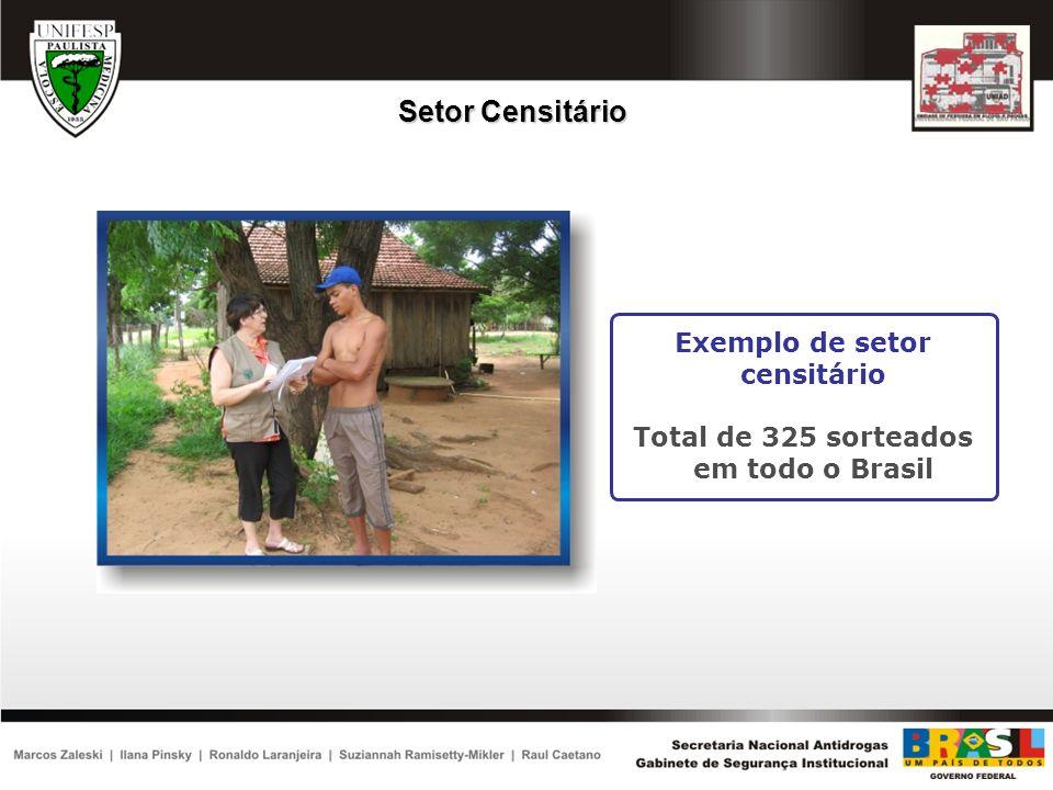 Exemplo de setor censitário Total de 325 sorteados em todo o Brasil Setor Censitário