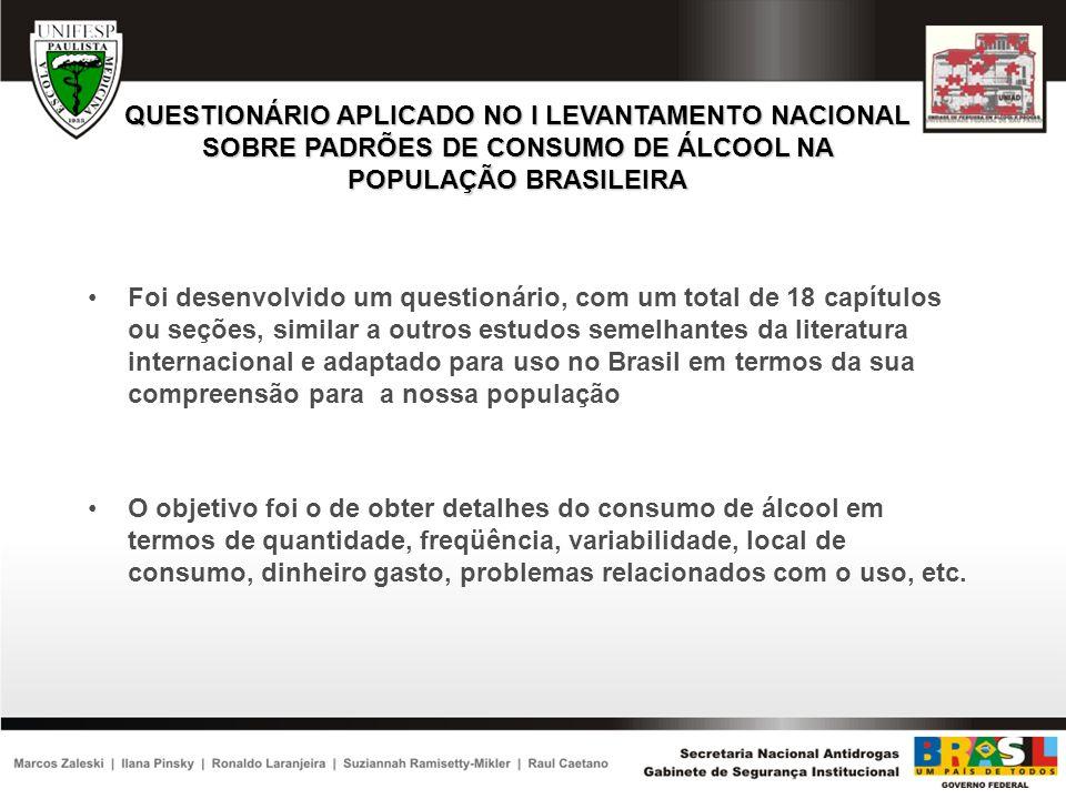 QUESTIONÁRIO APLICADO NO I LEVANTAMENTO NACIONAL SOBRE PADRÕES DE CONSUMO DE ÁLCOOL NA POPULAÇÃO BRASILEIRA Foi desenvolvido um questionário, com um t