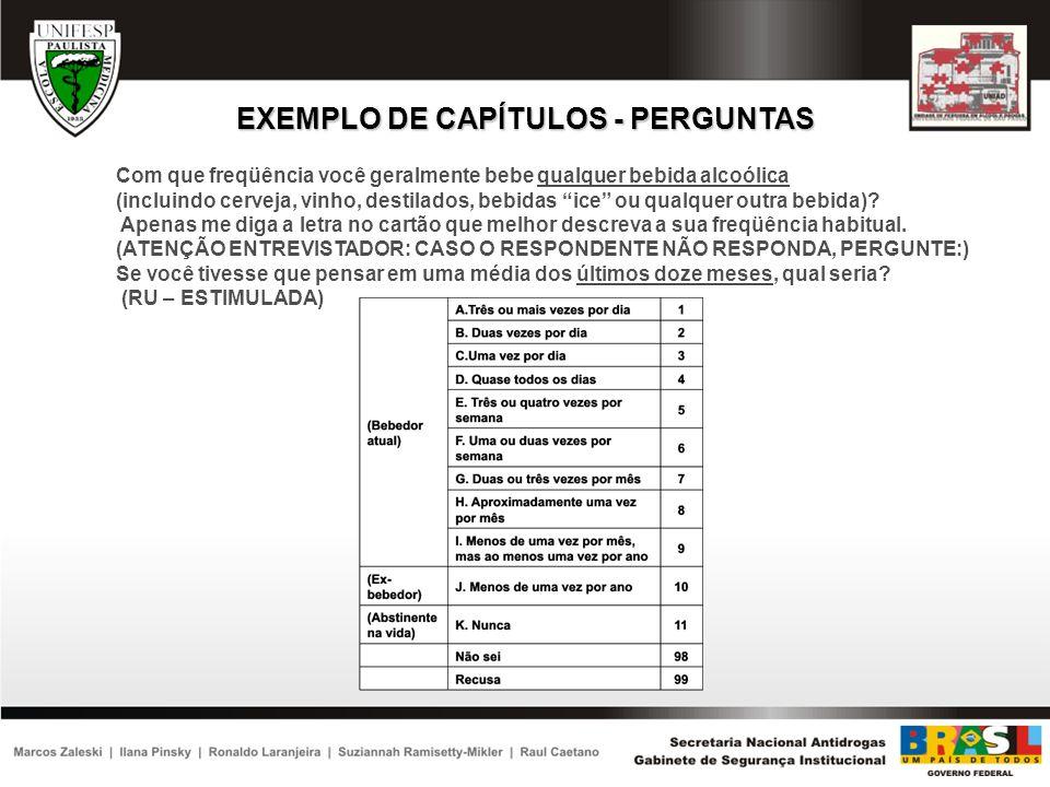EXEMPLO DE CAPÍTULOS - PERGUNTAS Com que freqüência você geralmente bebe qualquer bebida alcoólica (incluindo cerveja, vinho, destilados, bebidas ice