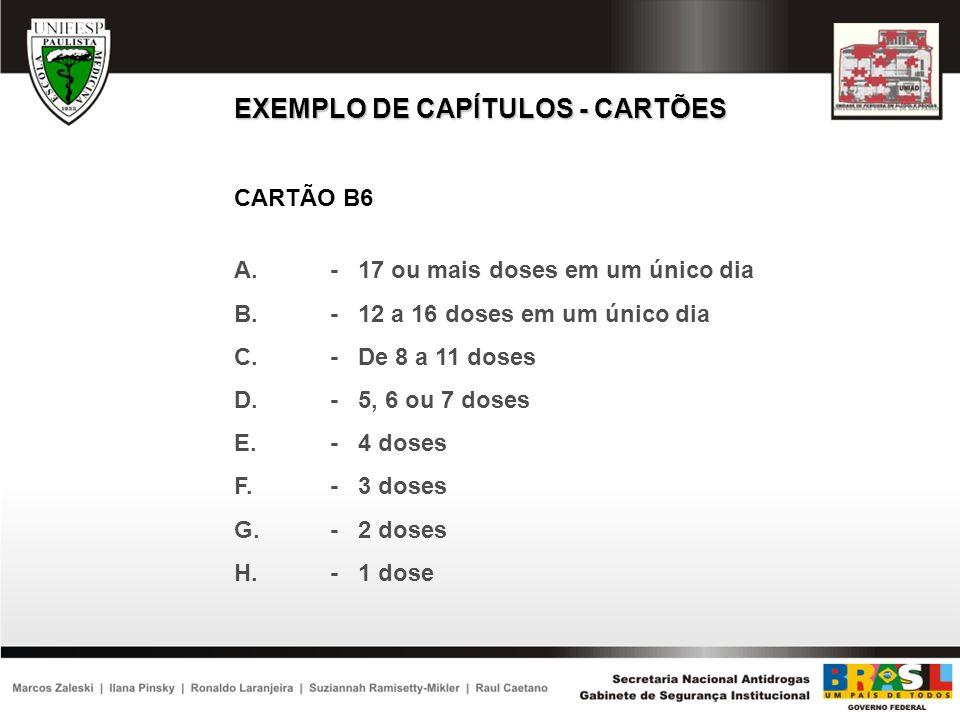 EXEMPLO DE CAPÍTULOS - CARTÕES CARTÃO B6 A.- 17 ou mais doses em um único dia B.- 12 a 16 doses em um único dia C.- De 8 a 11 doses D.- 5, 6 ou 7 dose