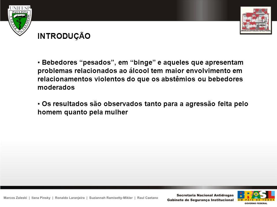 INTRODUÇÃO Apesar das fortes evidências científicas de que o uso de álcool está relacionado a um maior risco de espisódios de violência doméstica, até o presente estudo nenhum estudo populacional no Brasil investigou essa associação