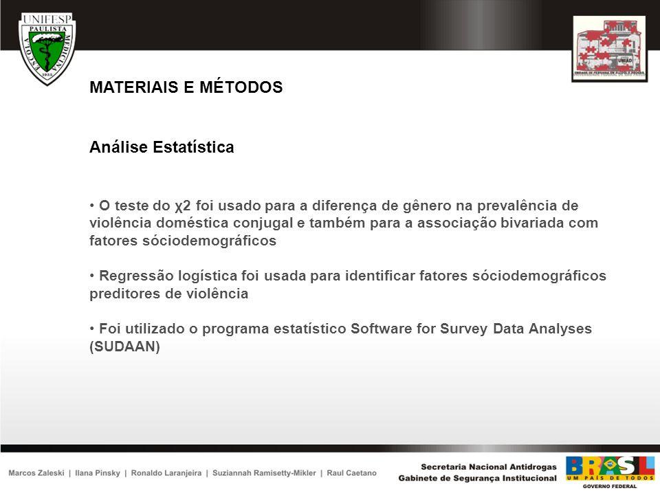 MATERIAIS E MÉTODOS Análise Estatística O teste do χ2 foi usado para a diferença de gênero na prevalência de violência doméstica conjugal e também par