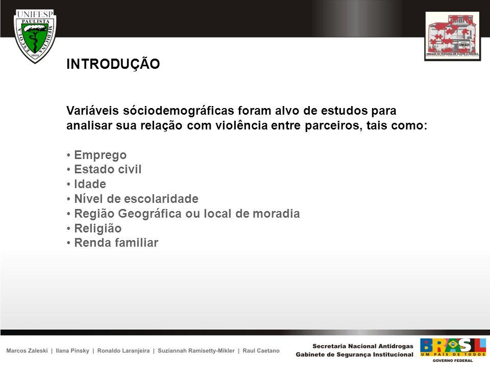OBJETIVOS Prevalência de violência entre parceiros Contribuição do uso de álcool durante o evento Associação entre variáveis sóciodemográficas e violência entre parceiros Análise de fatores sóciodemográficos preditores de violência