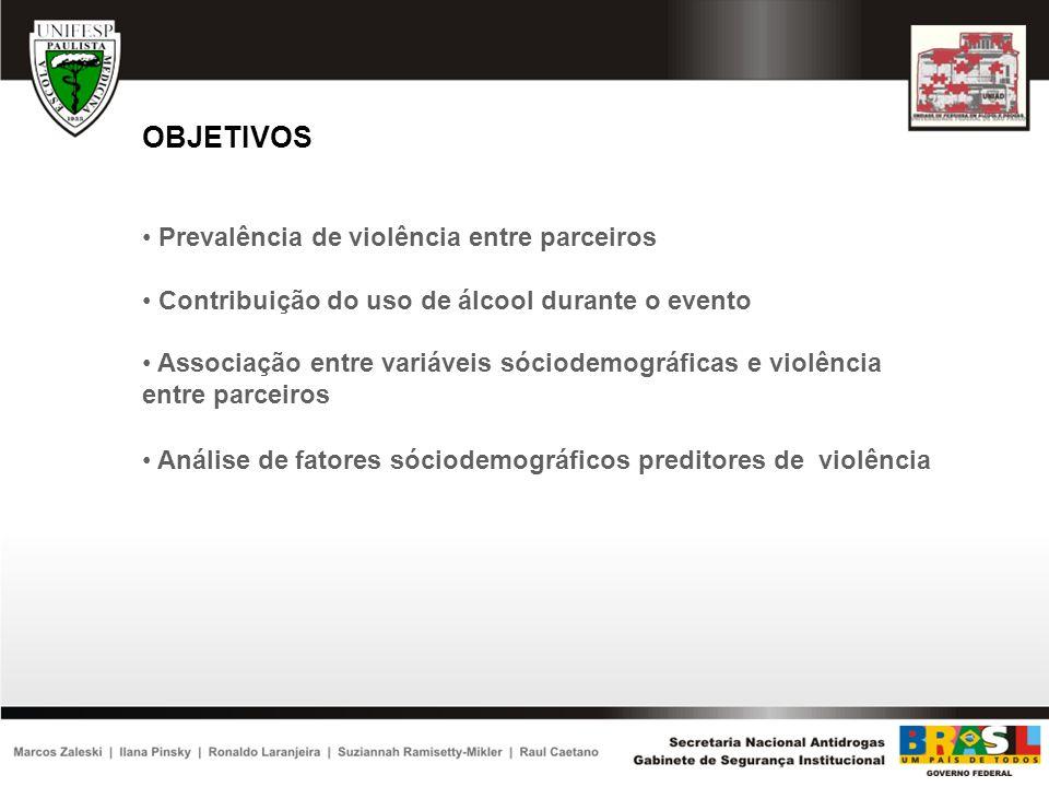 MATERIAIS E MÉTODOS Análise Estatística O teste do χ2 foi usado para a diferença de gênero na prevalência de violência doméstica conjugal e também para a associação bivariada com fatores sóciodemográficos Regressão logística foi usada para identificar fatores sóciodemográficos preditores de violência Foi utilizado o programa estatístico Software for Survey Data Analyses (SUDAAN)
