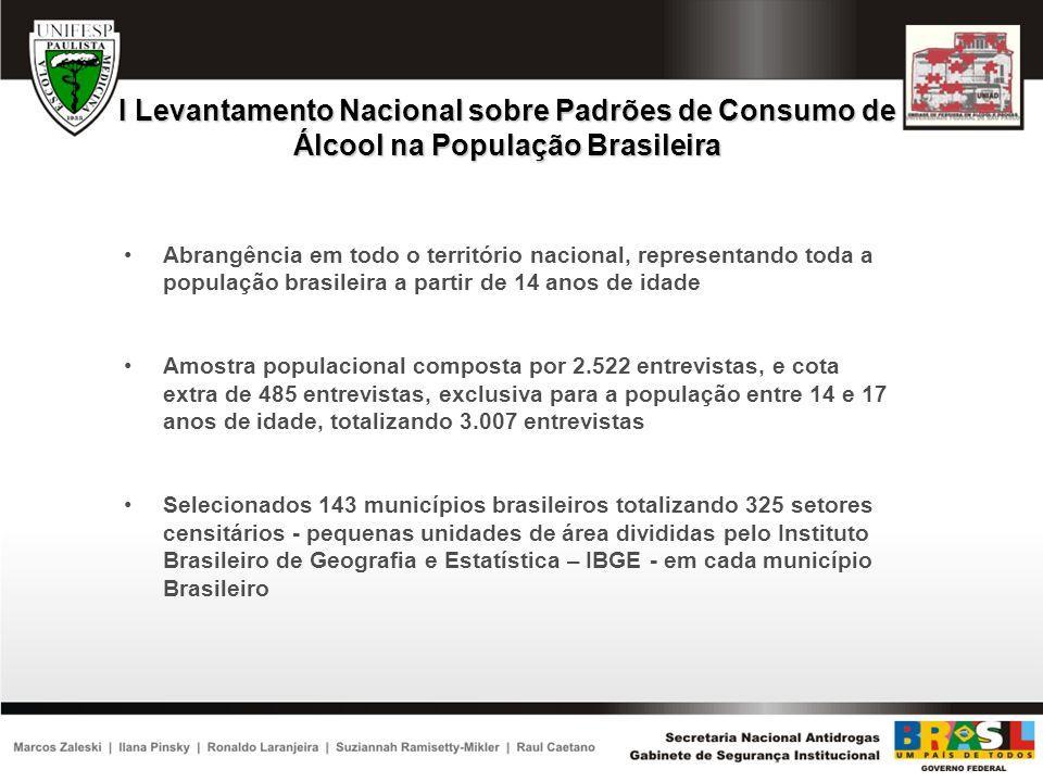 QUESTIONÁRIO APLICADO NO I LEVANTAMENTO NACIONAL SOBRE PADRÕES DE CONSUMO DE ÁLCOOL NA POPULAÇÃO BRASILEIRA Foi desenvolvido um questionário, com um total de 18 capítulos ou seções, similar a outros estudos semelhantes da literatura internacional e adaptado para uso no Brasil em termos da sua compreensão para a nossa população O objetivo foi o de obter detalhes do consumo de álcool em termos de quantidade, freqüência, variabilidade, local de consumo, dinheiro gasto, problemas relacionados com o uso, etc.