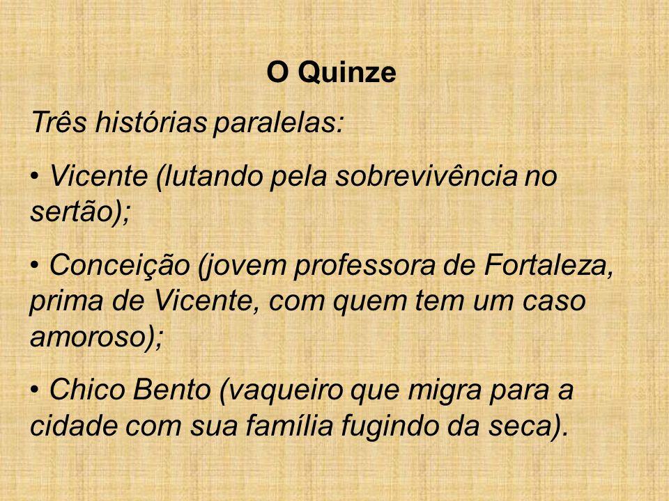 O Quinze Três histórias paralelas: Vicente (lutando pela sobrevivência no sertão); Conceição (jovem professora de Fortaleza, prima de Vicente, com que