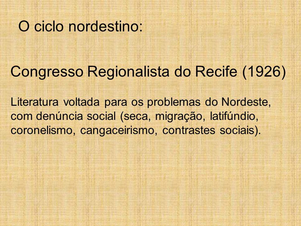O ciclo nordestino: Congresso Regionalista do Recife (1926) Literatura voltada para os problemas do Nordeste, com denúncia social (seca, migração, lat