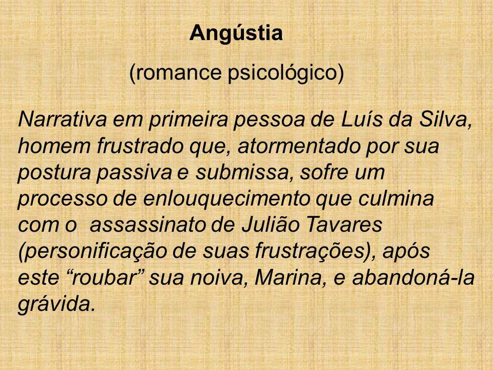Angústia (romance psicológico) Narrativa em primeira pessoa de Luís da Silva, homem frustrado que, atormentado por sua postura passiva e submissa, sof