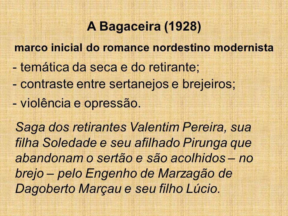 A Bagaceira (1928) marco inicial do romance nordestino modernista - temática da seca e do retirante; - contraste entre sertanejos e brejeiros; Saga do