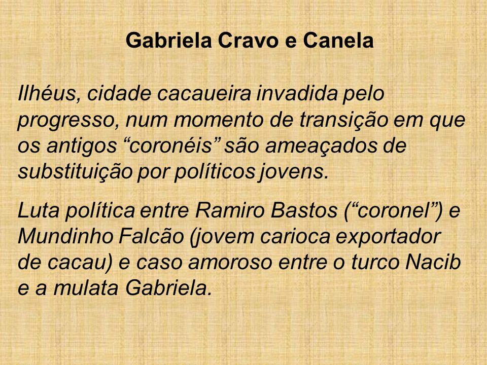 Gabriela Cravo e Canela Ilhéus, cidade cacaueira invadida pelo progresso, num momento de transição em que os antigos coronéis são ameaçados de substit