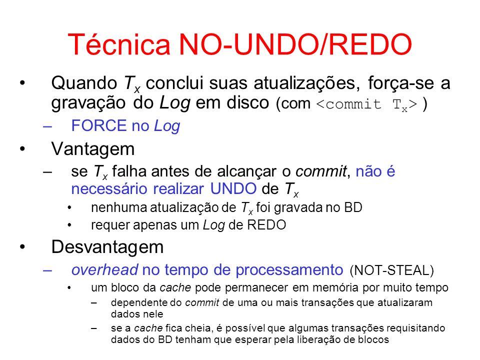 Técnica NO-UNDO/REDO Quando T x conclui suas atualizações, força-se a gravação do Log em disco (com ) –FORCE no Log Vantagem –se T x falha antes de al