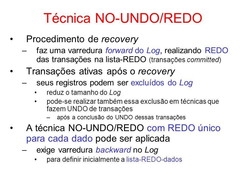 Técnica NO-UNDO/REDO Procedimento de recovery –faz uma varredura forward do Log, realizando REDO das transações na lista-REDO (transações committed) T