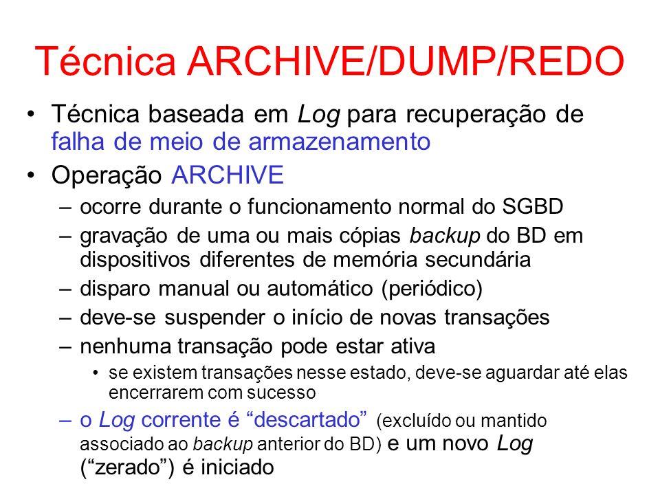 Técnica ARCHIVE/DUMP/REDO Técnica baseada em Log para recuperação de falha de meio de armazenamento Operação ARCHIVE –ocorre durante o funcionamento n