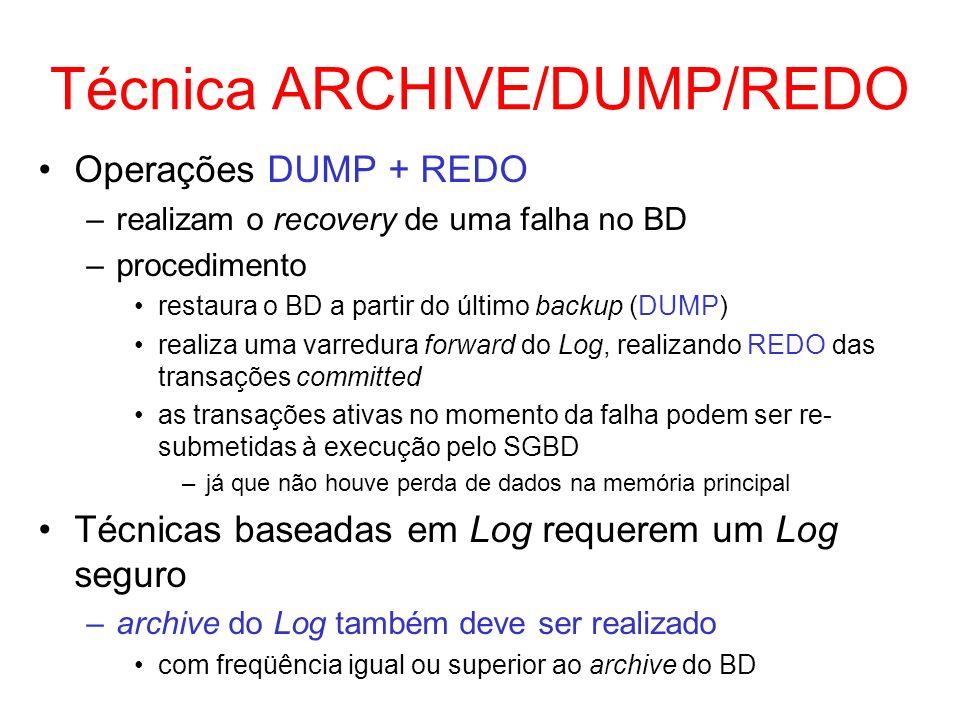 Técnica ARCHIVE/DUMP/REDO Operações DUMP + REDO –realizam o recovery de uma falha no BD –procedimento restaura o BD a partir do último backup (DUMP) r