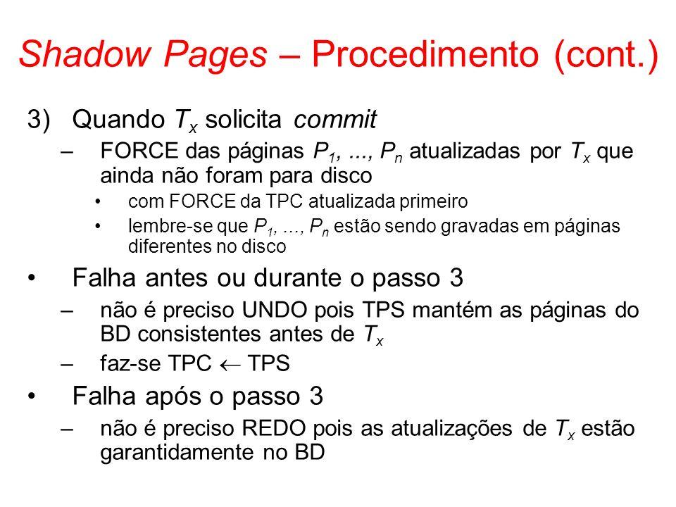 Shadow Pages – Procedimento (cont.) 3)Quando T x solicita commit –FORCE das páginas P 1,..., P n atualizadas por T x que ainda não foram para disco co