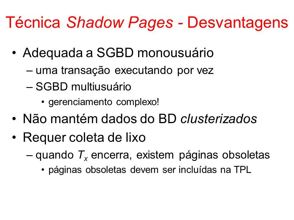 Técnica Shadow Pages - Desvantagens Adequada a SGBD monousuário –uma transação executando por vez –SGBD multiusuário gerenciamento complexo! Não manté