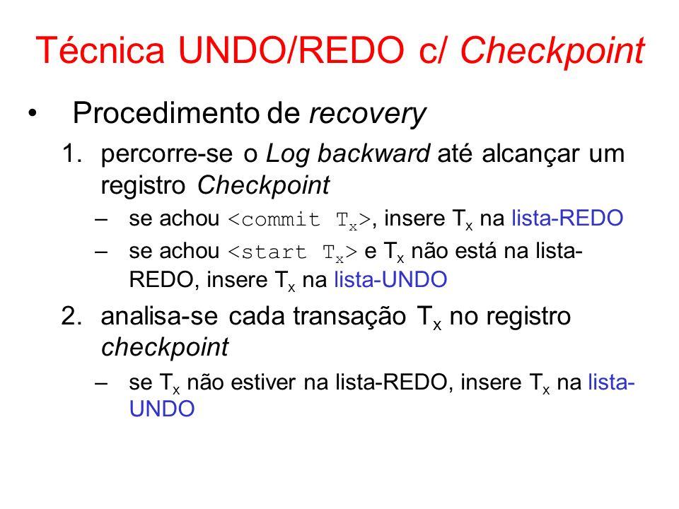 Técnica UNDO/REDO c/ Checkpoint Procedimento de recovery 1.percorre-se o Log backward até alcançar um registro Checkpoint –se achou, insere T x na lis