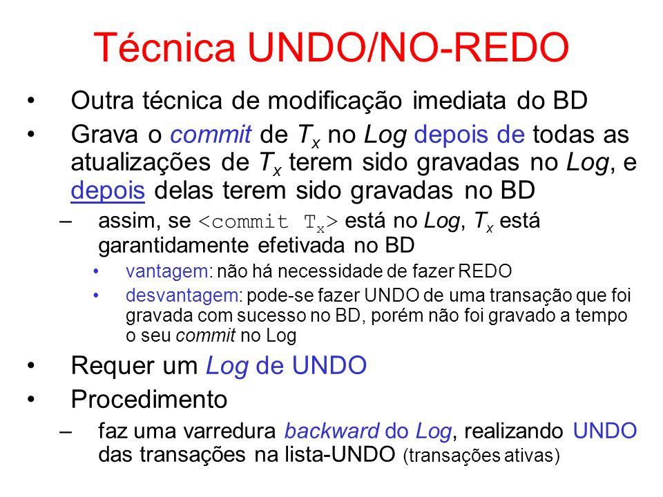 Técnica UNDO/NO-REDO Outra técnica de modificação imediata do BD Grava o commit de T x no Log depois de todas as atualizações de T x terem sido gravad