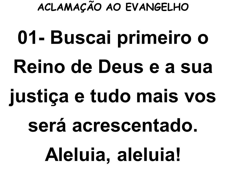 ACLAMAÇÃO AO EVANGELHO 01- Buscai primeiro o Reino de Deus e a sua justiça e tudo mais vos será acrescentado. Aleluia, aleluia!