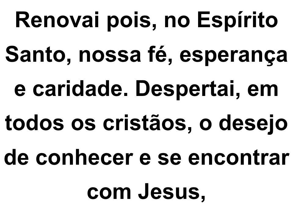 Renovai pois, no Espírito Santo, nossa fé, esperança e caridade. Despertai, em todos os cristãos, o desejo de conhecer e se encontrar com Jesus,
