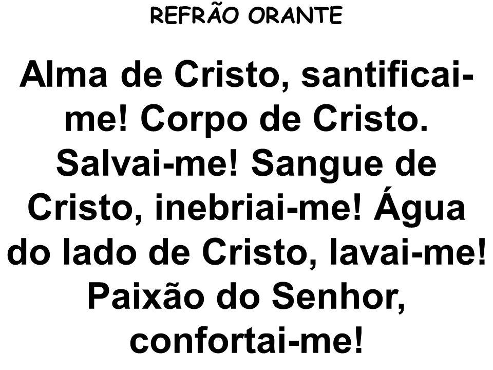 Alma de Cristo, santificai- me! Corpo de Cristo. Salvai-me! Sangue de Cristo, inebriai-me! Água do lado de Cristo, lavai-me! Paixão do Senhor, confort