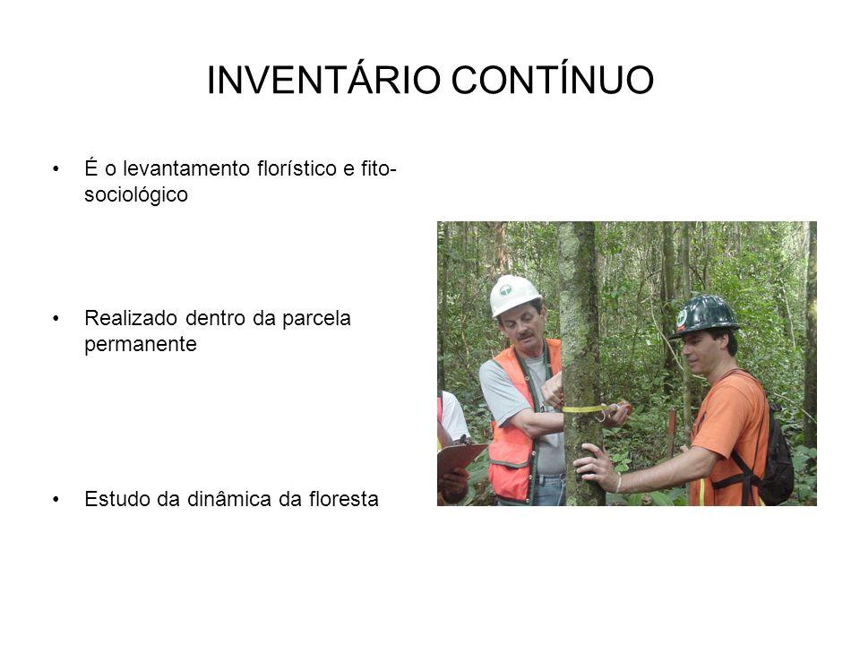 INVENTÁRIO CONTÍNUO É o levantamento florístico e fito- sociológico Realizado dentro da parcela permanente Estudo da dinâmica da floresta