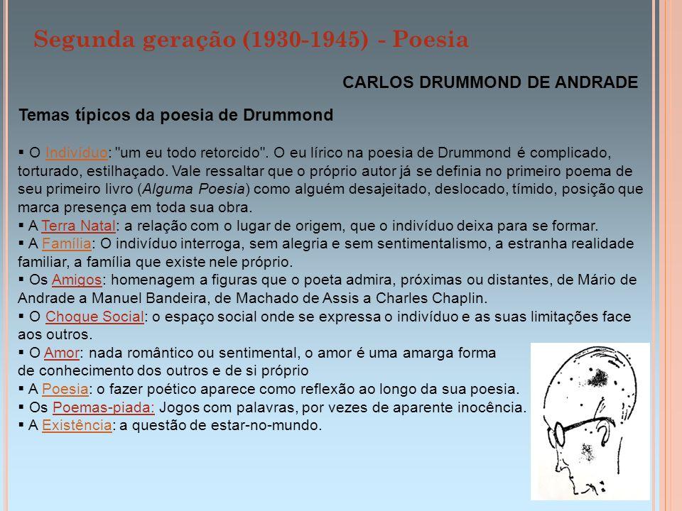 Segunda geração (1930-1945) - Poesia CARLOS DRUMMOND DE ANDRADE Temas típicos da poesia de Drummond O Indivíduo: