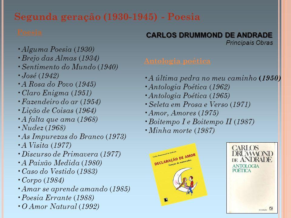 Segunda geração (1930-1945) - Poesia CARLOS DRUMMOND DE ANDRADE Poesia Alguma Poesia ( 1930) Brejo das Almas ( 1934) Sentimento do Mundo ( 1940) José