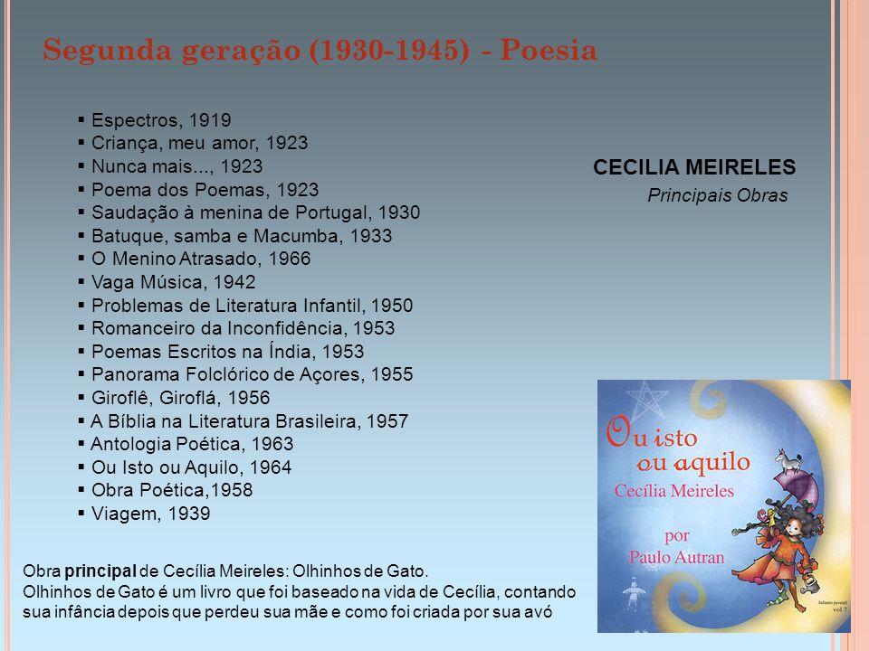 Segunda geração (1930-1945) - Poesia CECILIA MEIRELES Principais Obras Espectros, 1919 Criança, meu amor, 1923 Nunca mais..., 1923 Poema dos Poemas, 1