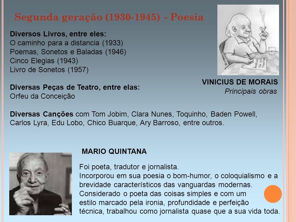 Diversos Livros, entre eles: O caminho para a distancia (1933) Poemas, Sonetos e Baladas (1946) Cinco Elegias (1943) Livro de Sonetos (1957) Diversas