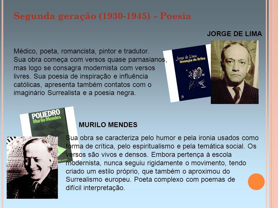 Segunda geração (1930-1945) - Poesia JORGE DE LIMA MURILO MENDES Sua obra se caracteriza pelo humor e pela ironia usados como forma de crítica, pelo e