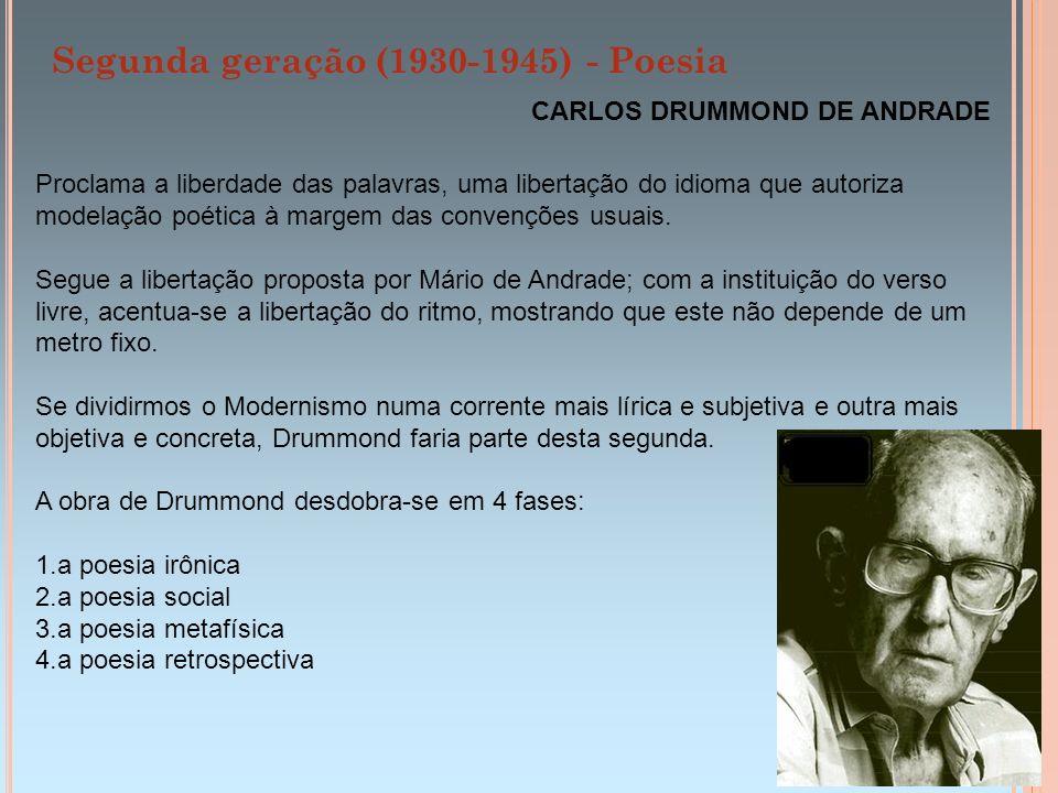 Segunda geração (1930-1945) - Poesia CARLOS DRUMMOND DE ANDRADE Temas típicos da poesia de Drummond O Indivíduo: um eu todo retorcido .