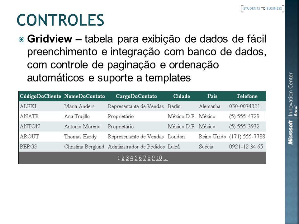 Gridview – tabela para exibição de dados de fácil preenchimento e integração com banco de dados, com controle de paginação e ordenação automáticos e s