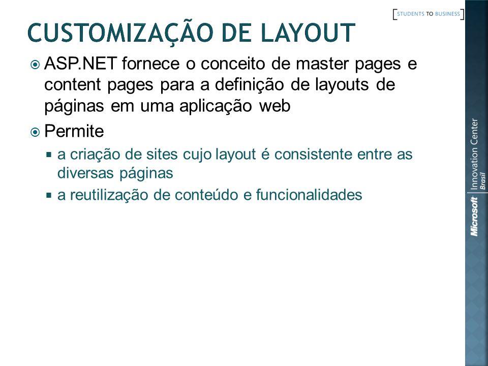ASP.NET fornece o conceito de master pages e content pages para a definição de layouts de páginas em uma aplicação web Permite a criação de sites cujo