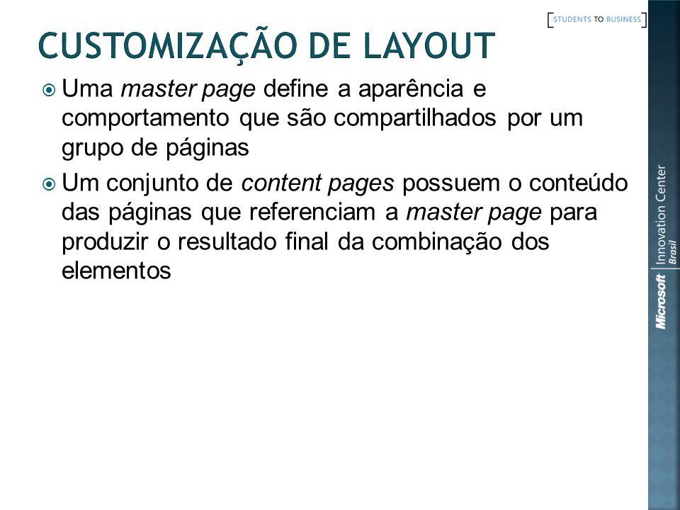 Uma master page define a aparência e comportamento que são compartilhados por um grupo de páginas Um conjunto de content pages possuem o conteúdo das