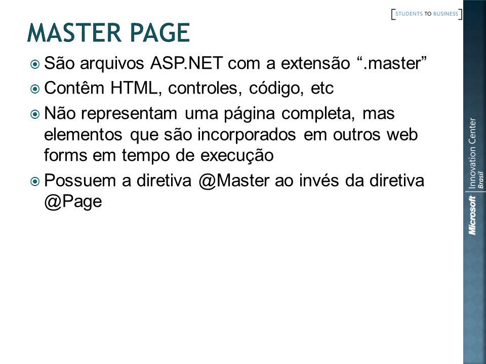 São arquivos ASP.NET com a extensão.master Contêm HTML, controles, código, etc Não representam uma página completa, mas elementos que são incorporados