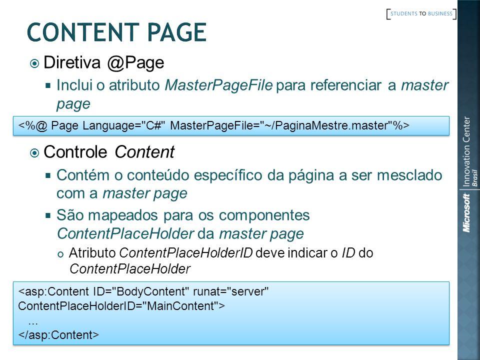 Diretiva @Page Inclui o atributo MasterPageFile para referenciar a master page Controle Content Contém o conteúdo específico da página a ser mesclado
