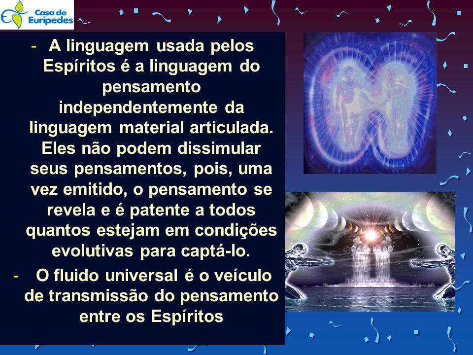 -A linguagem usada pelos Espíritos é a linguagem do pensamento independentemente da linguagem material articulada. Eles não podem dissimular seus pens