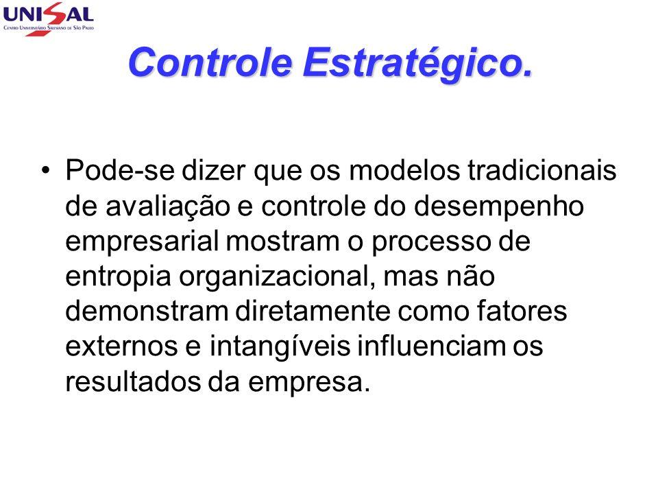 Controle Estratégico. Pode-se dizer que os modelos tradicionais de avaliação e controle do desempenho empresarial mostram o processo de entropia organ