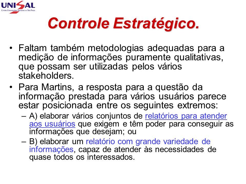 Controle Estratégico. Faltam também metodologias adequadas para a medição de informações puramente qualitativas, que possam ser utilizadas pelos vário