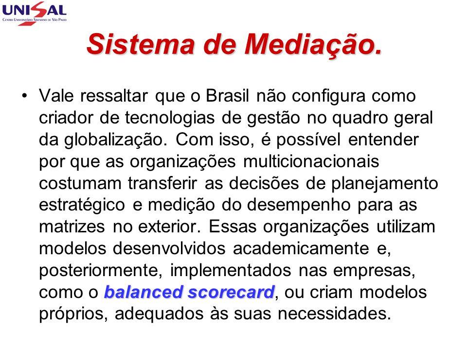 Sistema de Mediação. balanced scorecardVale ressaltar que o Brasil não configura como criador de tecnologias de gestão no quadro geral da globalização