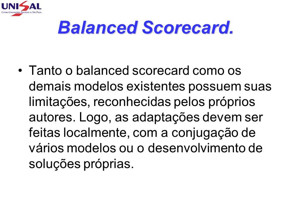Balanced Scorecard. Tanto o balanced scorecard como os demais modelos existentes possuem suas limitações, reconhecidas pelos próprios autores. Logo, a