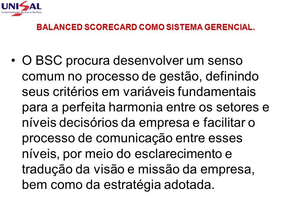 BALANCED SCORECARD COMO SISTEMA GERENCIAL. O BSC procura desenvolver um senso comum no processo de gestão, definindo seus critérios em variáveis funda