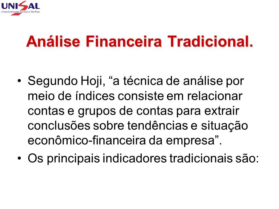 Análise Financeira Tradicional. Segundo Hoji, a técnica de análise por meio de índices consiste em relacionar contas e grupos de contas para extrair c