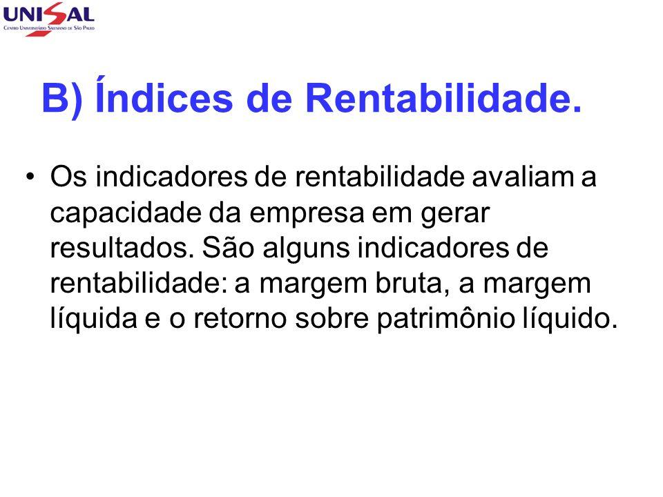 B) Índices de Rentabilidade. Os indicadores de rentabilidade avaliam a capacidade da empresa em gerar resultados. São alguns indicadores de rentabilid
