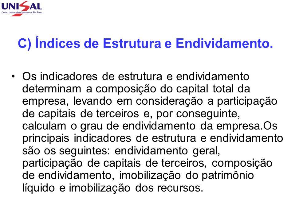 C) Índices de Estrutura e Endividamento. Os indicadores de estrutura e endividamento determinam a composição do capital total da empresa, levando em c