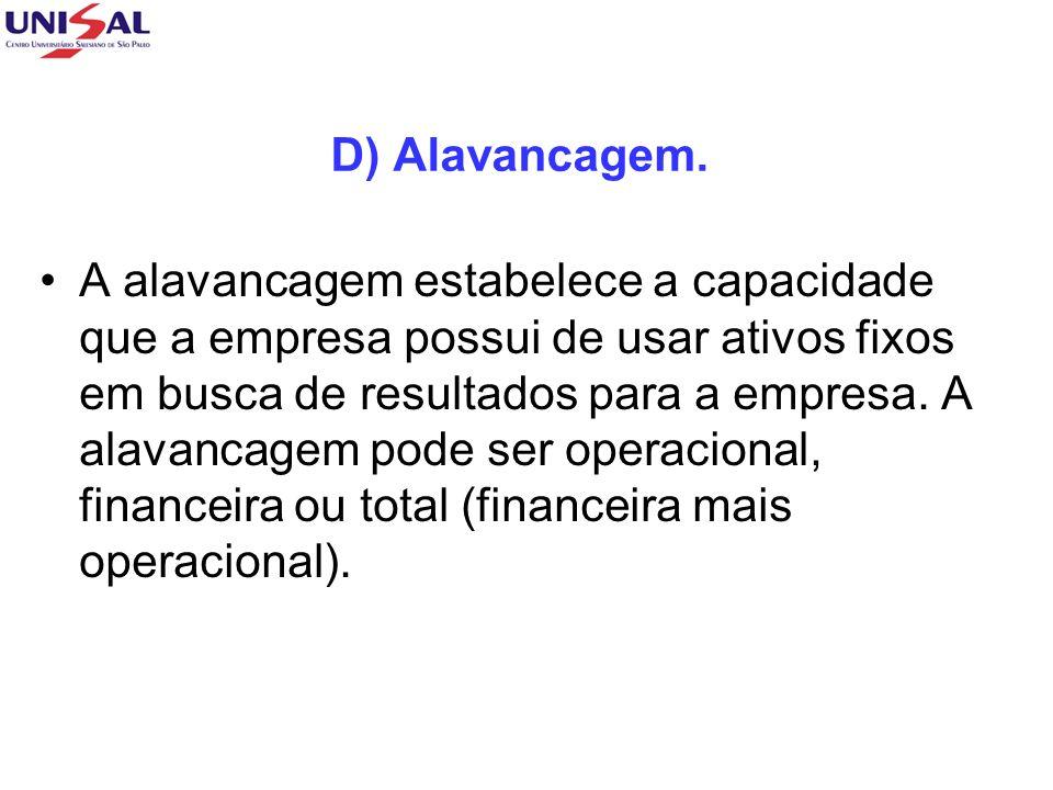 D) Alavancagem. A alavancagem estabelece a capacidade que a empresa possui de usar ativos fixos em busca de resultados para a empresa. A alavancagem p